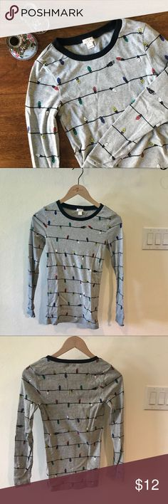 J. Crew Printed Knit Sleep Shirt Holiday print heather grey shirt with dark navy trimmed crew neck. Slim fit. Pair with navy plaid sleep pants or grey sweatpants. Only worn once (for Christmas Eve). J. Crew Factory Intimates & Sleepwear Pajamas