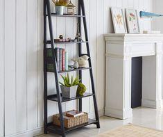 Dressing Room Design, Decor, Black Ladder Shelf, Bedroom Seating, Ladder Shelf Decor, Home N Decor, Bookcase, Shelves, Room Ideas Bedroom