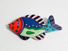 Vintage 80s Colorful Hand Painted Wooden Fish Brooch by BellDoraVintage, $6.00