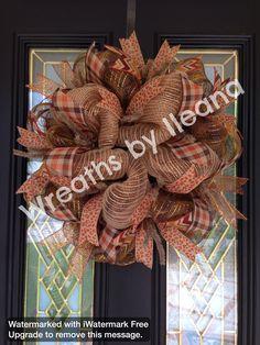 "20"" Wreath, fall deco mesh 20"" wreath, fall deco mesh center piece, burlap and plaid wreath, #68 Wreath by Ileana"