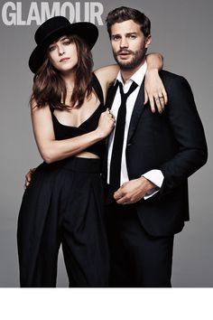 GLAMOUR UK.. March 2015.. Dakota wears Donna Karan Spring 2015 crop top and trousers; and Saint Laurent hat.. #fiftyshades