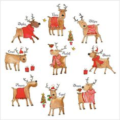 """Rudolph and Friends - XS01 Pack of 8 luxury Christmas cards, with 100gsm, 100% recycled, white envelopes. Message inside reads: Best Wishes for Christmas and the New Year. •Paper Type: Matt Textured Flittered •Artist: Kate Mawdsley •Size: 6 x 6"""" : 152 x 152mm £4.25 www.jackies-cards.co.uk"""