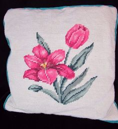 Pink Green Tulip Flower Needlepoint Pillow Vintage Mid Century 12 x 12