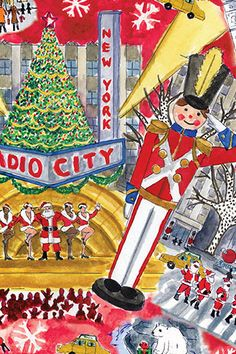 Bright lights of Christmas NYC,NY. Christmas In The City, New York Christmas, Merry Little Christmas, Christmas Love, Winter Christmas, Christmas Lights, Vintage Christmas, Christmas Crafts, New York Illustration