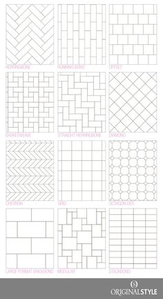 Bathroom tile design pattern Your Guide to tile pattern layouts Tile Layout Patterns, Subway Tile Patterns, Bathroom Tile Patterns, Tile Floor Patterns, Tile Backsplash Patterns, Shower Tile Designs, Brick Patterns, Bathroom Floor Tiles, Kitchen Flooring