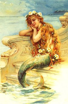 Free Vintage Victorian Mermaid illustration that you can print out for scrapbooking, and crafting