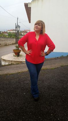 Mary's Big Closet: Red Shirt, Flare Jeans