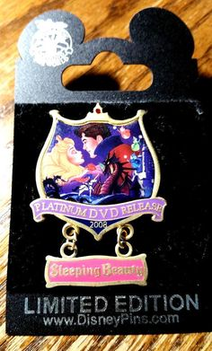 Disney Sleeping Beauty Platinum DVD Release Aurora Prince Fairies Dangle LE Pin
