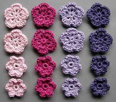 Häkelblumen, 4 Farben | Baumwolle, rosé, pink, flieder, pflaume, 16 Stück