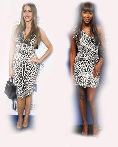 animal print dress, Sofia Vergara VS Naomi Campbell fashion diva who-wore-it-better celeb celebrity