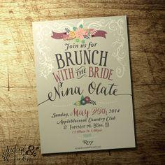 Brunch Invitation floral vintage design 5 by IndigoAndOrion, $12.00