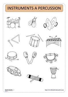 imagier thématique des instruments de musique Preschool Colors, Preschool Music, Teaching Music, Instrument Percussion, Instruments Of The Orchestra, Music Notes Art, Easy Sheet Music, Music Worksheets, Kindergarten Lessons