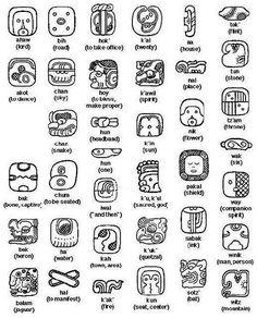 Mayan Symbols - Pre-Columbian Art and Culture Glyphs Symbols, Mayan Glyphs, Celtic Symbols, Egyptian Symbols, Ancient Symbols, Tattoo Symbols, Ancient Art, Tattoo Maya, Latin Tattoo
