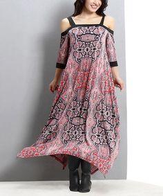 Look at this #zulilyfind! Pink Paisley Off-Shoulder Maxi Dress - Plus #zulilyfinds