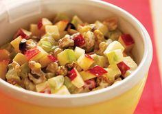 Apple, Celery, and Walnut Salad...might need to make this for my lunches...also might substitute with Greek yogurt