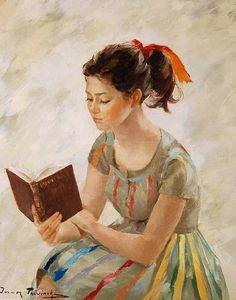 """Igor Talwiński, """"Young Girl Reading a Book"""".  Love."""