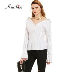 Female spring blouse shirt cool white blouse sexy women long sleeve flare blouse button tops girls blouse