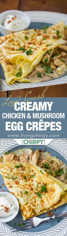 Low Carb Creamy Chicken and Mushroom Egg Crepe. An easy and simple low-carb breakfast you'll want to cook again and again.