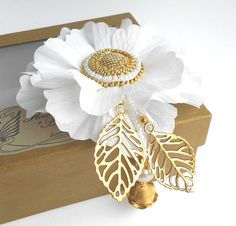 White fabric flower brooch White and gold by Flowerartstudio, $30.00