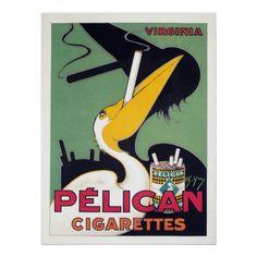 Pelikan-Zigaretten, Vintage Plakat-Anzeige Poster