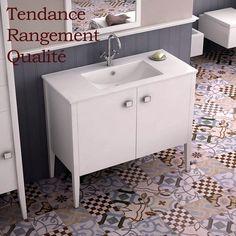Meuble salle de bain Blanc 100 cm, 2 portes, vasque céramique, Touquet