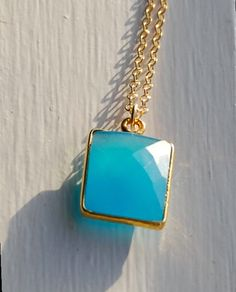 Spectacular Aqua Blue Chalcedony Bezel Pendant Necklace- Gold Square Spring 2014 Trends Ocean Blue Gifts for Her by designsbydangelo. Explore more products on http://designsbydangelo.etsy.com