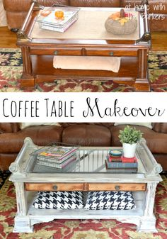 DIY Coffee Table Makeover-Before and After, this is one amazing makeover! http://athomewiththebarkers.com/coffee-table-makeover/