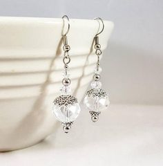 Clear Faceted Glass Crystal and Pewter Dangle Earrings http://etsy.me/2DUDPnj #jewelry #earrings #clear #earwire #pewter #women #silver #wedding #crystal #SnapdragonJewelryCo