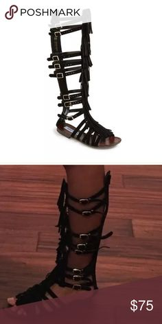 Gladiator black Villano fringe boot sandals Hard to find🌺New without box Steve Madden Shoes Sandals