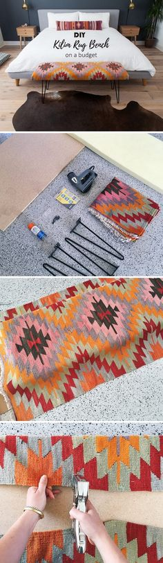 Check out this easy idea on how to make a #DIY kilim rug bench for #homedecor on a #budget #project #crafts @istandarddesign