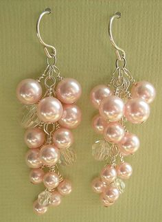 grape cluster bridal earrings pink pearl crystal