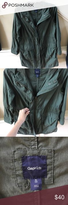 Green army jacket This is a gap kids army jacket! This would fit an adult xs or s! Feel free to make an offer! GAP Jackets & Coats