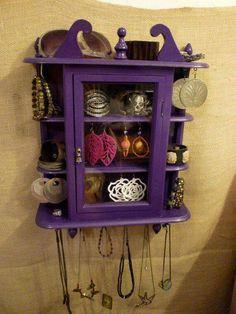 A Beautiful little PURPLE shelf and cupboard.