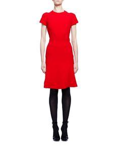W0D1J Alexander McQueen Short-Sleeve Crewneck Flare-Hem Dress, Red