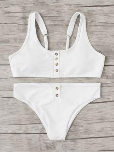 Shop Button Front Bikini Set online. SheIn offers Button Front Bikini Set & more to fit your fashionable needs.