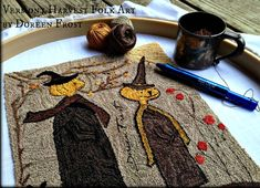 October Stroll Primitive Punch Needle Embroidery by vermontharvest
