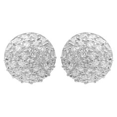 2 1/10 CT. T.W. Round-cut Cubic Zirconia Pave Set Stud Earrings in Sterling Silver -