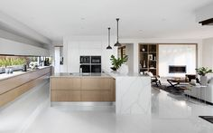 Contemporary kitchen design, love the clean lines and two tone layered island bench