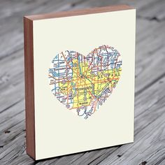 Minneapolis  Art City Heart Map - Wood Block Art Print $39.00