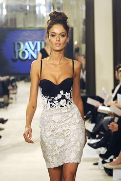 Pretty much everything here dress fashion runway black white lace sexy