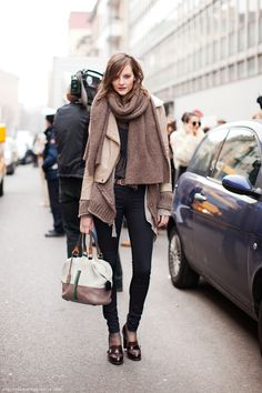 Noted for winter, love oversized coats and scarves
