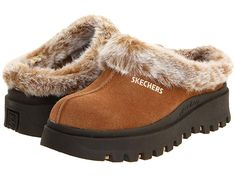 Skechers Women's Shindigs Fortress Clog Shoes (Chestnut) - M Offer Stores Clogs Shoes, Mules Shoes, Oxfords, Clog Slippers, Faux Fur Collar, Signature Logo, Soft Suede, Discount Shoes, Skechers