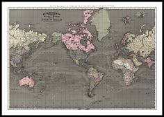 Wereldkaart op print. Dit is een van de mooiste wereldkaarten die we ooit gezien hebben. We hebben met man en macht gezocht naar mooie wereldkaarten en dit origineel in Amerika gevonden bij een antiekhandelaar. De kaart is van de tweede helft van de 18e eeuw. Een echt mooi handwerk met de stroom van de zee getekend. We hebben een breed assortiment van posters met kaarten en steden. www.desenio.nl