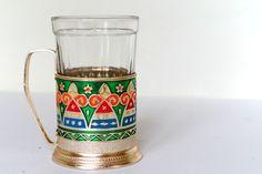 Soviet glass holder with glass Vintage tea glass holder Colorful Kitchen decor podstakannik Light metal Old style Kitchenware by Retronom on Etsy