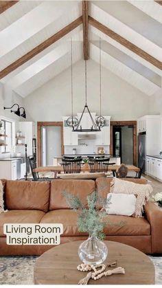 Home Living Room, Living Room Designs, Living Room Decor, Rustic Modern Living Room, Open Kitchen And Living Room, Living Room Styles, Beautiful Living Rooms, Dream Home Design, Home Interior Design