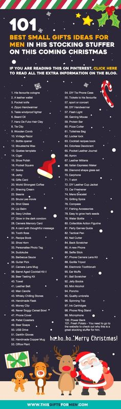 101 Best Small Gifts Ideas For Men For His Stocking Stuffer on This Coming Chri. 101 Best Small Gifts Ideas For Men For His Stocking Stuffer on This Coming Christmas (Infographics) Noel Christmas, Winter Christmas, Christmas Stockings, Christmas Crafts, Christmas Decorations, Funny Christmas, Christmas Gift Ideas, Small Christmas Gifts, Christmas Countdown