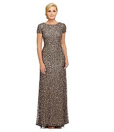 Adrianna Papell ShortSleeve Sequined Gown #Dillards.  Not a great model.  But this is the most versatile pageant appearance dress I've ever worn.
