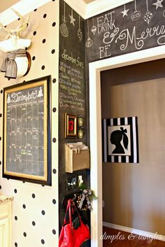 polka dot wall and chalkboard nook