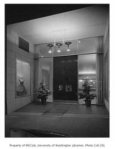 John Doyle Bishop shop exterior showing entrance, Seattle, 1955