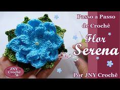 Passo a Passo de crochê Flor Serena por JNY Crochê - YouTube Crochet Snowflake Pattern, Crochet Flower Tutorial, Crochet Snowflakes, Crochet Flower Patterns, Afghan Crochet Patterns, Crochet Squares, Crochet Designs, Crochet Flowers, Crochet Stitches